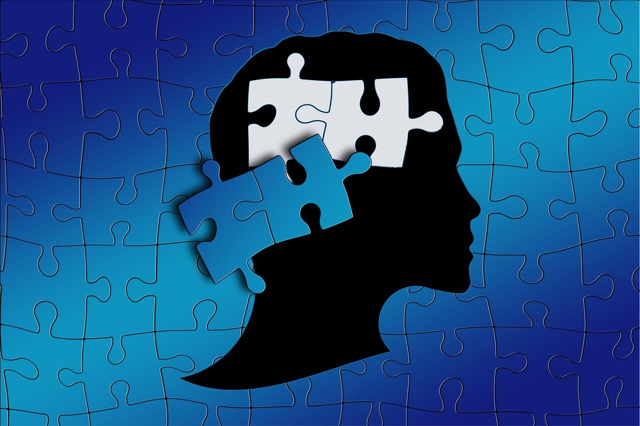 hoofd met puzzelstukjes