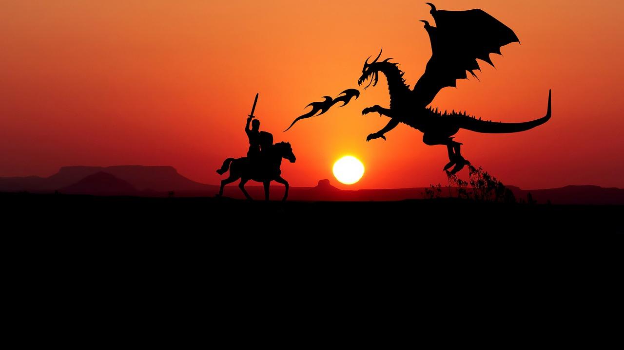 ridder vecht met een draak