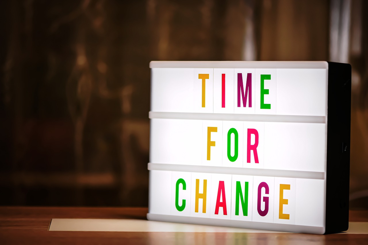 letterbord met letters tijd voor nieuwe dingen