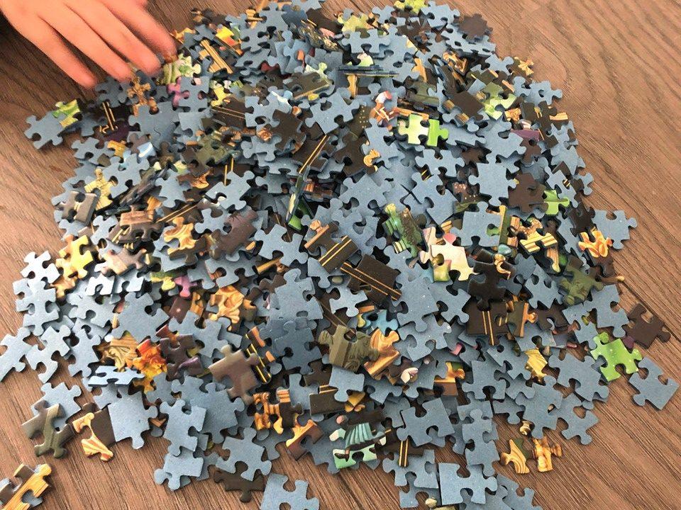 puzzel van 1000 stukjes op de grond